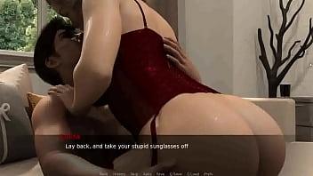 Молодая красотка лежит на кушетке и показывает гладкие половые губы